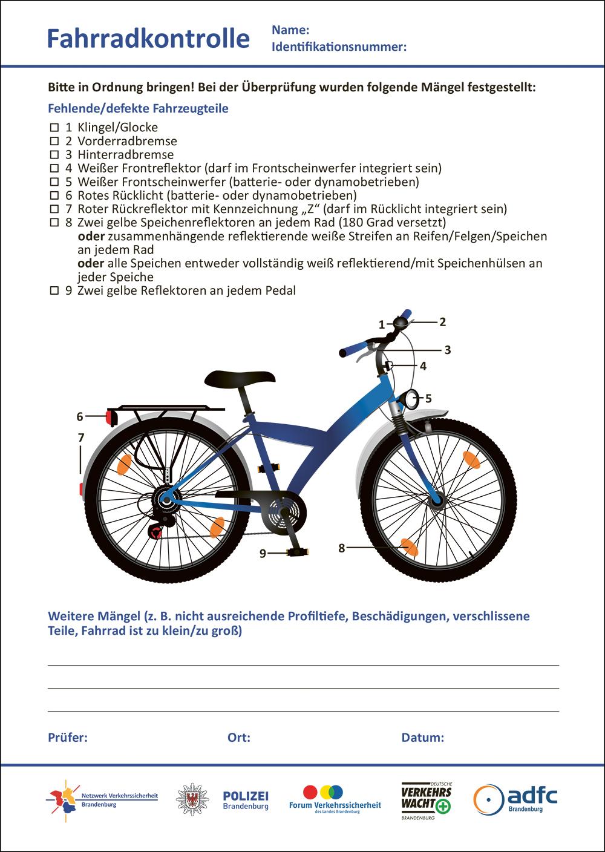 """Hier gelangen Sie zum """"Kontrollbeleg für Fahrradüberprüfungen"""""""